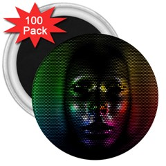 Digital Art Psychedelic Face Skull Color 3  Magnets (100 Pack)