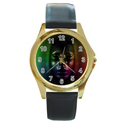 Digital Art Psychedelic Face Skull Color Round Gold Metal Watch