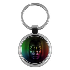 Digital Art Psychedelic Face Skull Color Key Chains (round)