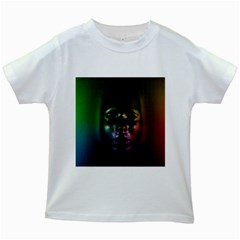 Digital Art Psychedelic Face Skull Color Kids White T Shirts