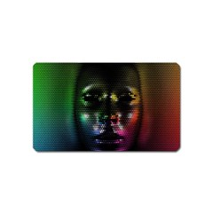 Digital Art Psychedelic Face Skull Color Magnet (name Card)