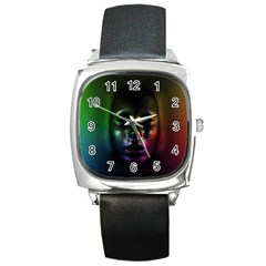 Digital Art Psychedelic Face Skull Color Square Metal Watch