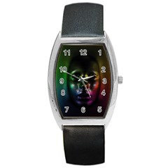 Digital Art Psychedelic Face Skull Color Barrel Style Metal Watch