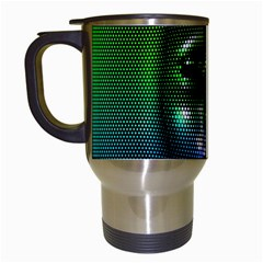 Digital Art Psychedelic Face Skull Color Travel Mugs (white)