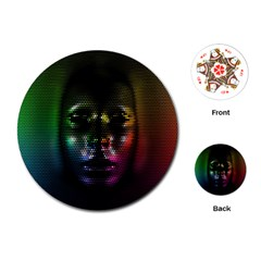 Digital Art Psychedelic Face Skull Color Playing Cards (round)