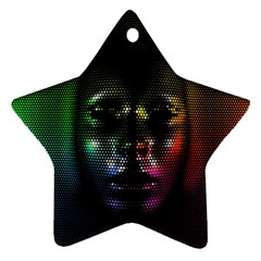Digital Art Psychedelic Face Skull Color Star Ornament (two Sides)