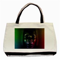 Digital Art Psychedelic Face Skull Color Basic Tote Bag (two Sides)