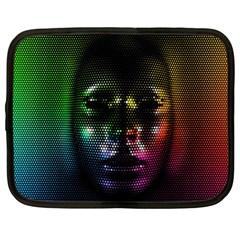 Digital Art Psychedelic Face Skull Color Netbook Case (large)