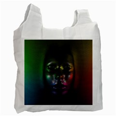 Digital Art Psychedelic Face Skull Color Recycle Bag (two Side)