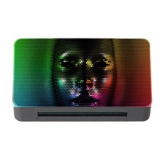 Digital Art Psychedelic Face Skull Color Memory Card Reader With Cf