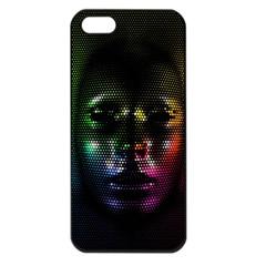 Digital Art Psychedelic Face Skull Color Apple Iphone 5 Seamless Case (black)
