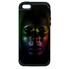 Digital Art Psychedelic Face Skull Color Apple Iphone 5 Hardshell Case (pc+silicone)