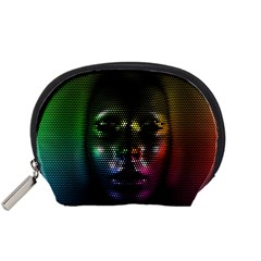 Digital Art Psychedelic Face Skull Color Accessory Pouches (small)