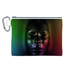 Digital Art Psychedelic Face Skull Color Canvas Cosmetic Bag (l)