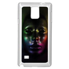 Digital Art Psychedelic Face Skull Color Samsung Galaxy Note 4 Case (white)