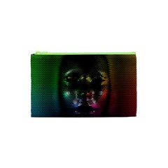 Digital Art Psychedelic Face Skull Color Cosmetic Bag (xs)