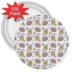 Cute Hamster Pattern 3  Buttons (100 Pack)
