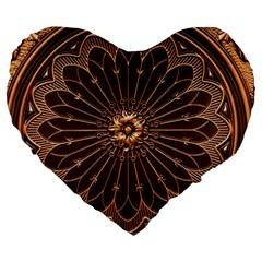 Decorative Antique Gold Large 19  Premium Heart Shape Cushions