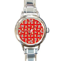 Cute Hamster Pattern Red Background Round Italian Charm Watch