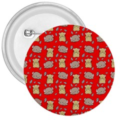 Cute Hamster Pattern Red Background 3  Buttons