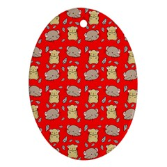 Cute Hamster Pattern Red Background Ornament (oval)