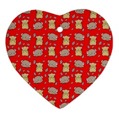 Cute Hamster Pattern Red Background Ornament (heart)