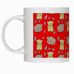 Cute Hamster Pattern Red Background White Mugs