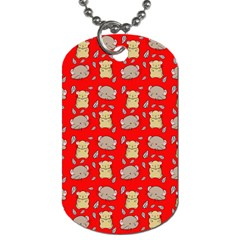 Cute Hamster Pattern Red Background Dog Tag (one Side)