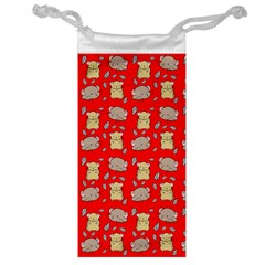 Cute Hamster Pattern Red Background Jewelry Bag