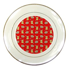 Cute Hamster Pattern Red Background Porcelain Plates