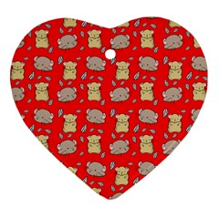 Cute Hamster Pattern Red Background Heart Ornament (two Sides)