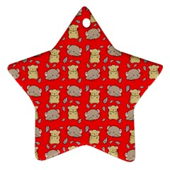 Cute Hamster Pattern Red Background Star Ornament (two Sides)
