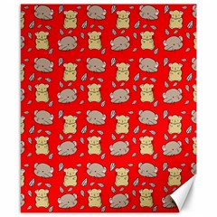 Cute Hamster Pattern Red Background Canvas 8  X 10