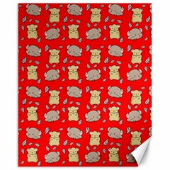 Cute Hamster Pattern Red Background Canvas 16  X 20