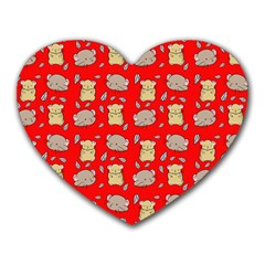 Cute Hamster Pattern Red Background Heart Mousepads