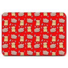 Cute Hamster Pattern Red Background Large Doormat