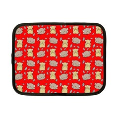 Cute Hamster Pattern Red Background Netbook Case (small)