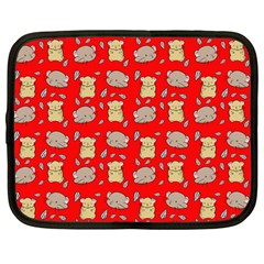 Cute Hamster Pattern Red Background Netbook Case (large)