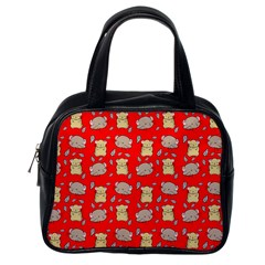 Cute Hamster Pattern Red Background Classic Handbags (one Side)