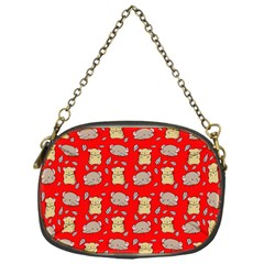 Cute Hamster Pattern Red Background Chain Purses (one Side)