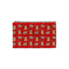 Cute Hamster Pattern Red Background Cosmetic Bag (small)