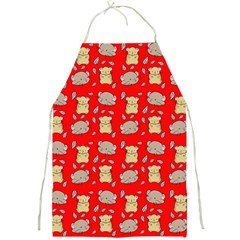 Cute Hamster Pattern Red Background Full Print Aprons