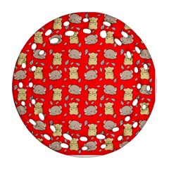 Cute Hamster Pattern Red Background Ornament (round Filigree)