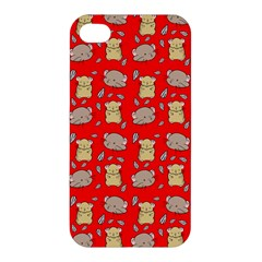 Cute Hamster Pattern Red Background Apple Iphone 4/4s Premium Hardshell Case