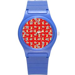 Cute Hamster Pattern Red Background Round Plastic Sport Watch (s)