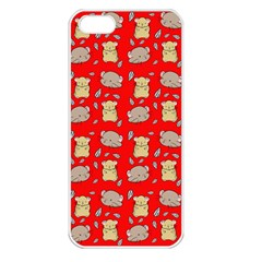 Cute Hamster Pattern Red Background Apple Iphone 5 Seamless Case (white)
