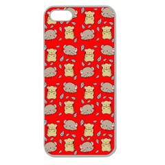 Cute Hamster Pattern Red Background Apple Seamless Iphone 5 Case (clear)