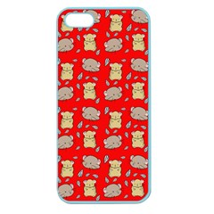 Cute Hamster Pattern Red Background Apple Seamless Iphone 5 Case (color)