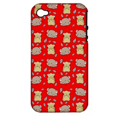 Cute Hamster Pattern Red Background Apple Iphone 4/4s Hardshell Case (pc+silicone)