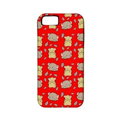 Cute Hamster Pattern Red Background Apple Iphone 5 Classic Hardshell Case (pc+silicone)